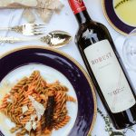 pastas, wine, red wine